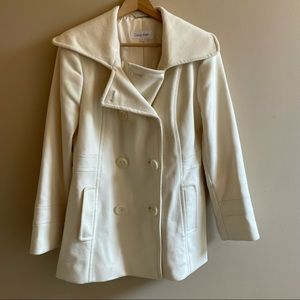 Calvin Klein white pea coat SIZE 10